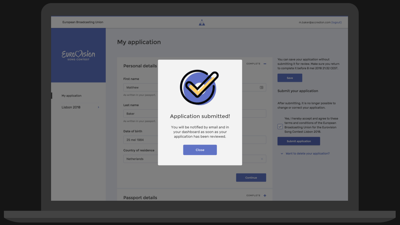 Accredion's submit application form